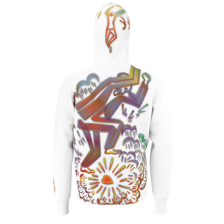 street flight all over print hoodie with brilliant things I graphic-rear view