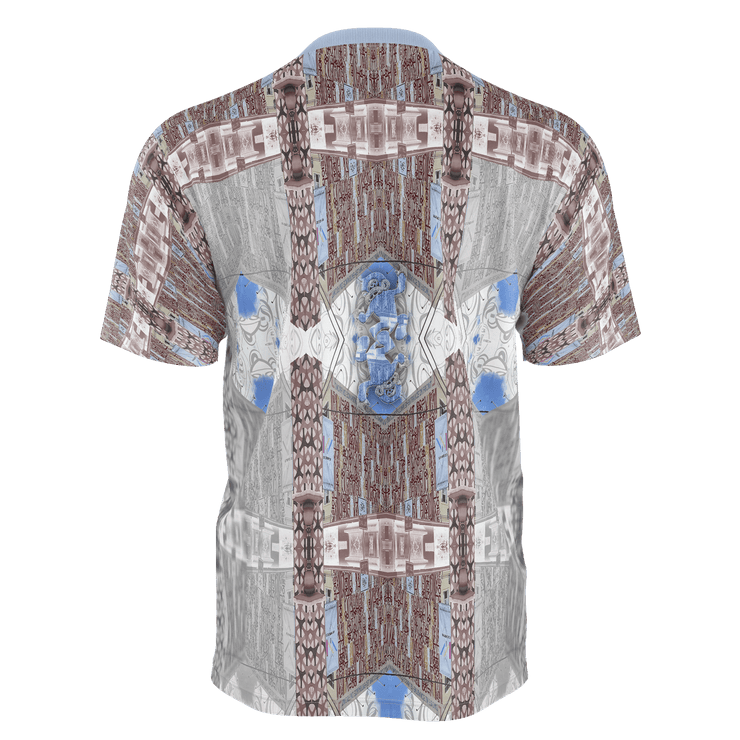 street flight all over print short sleeve t-shirt with miami one-seven 1 graphic-rear view