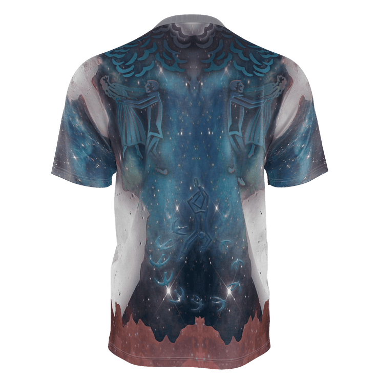 street flight all over print short sleeve t-shirt with brilliant things III graphic-rear view