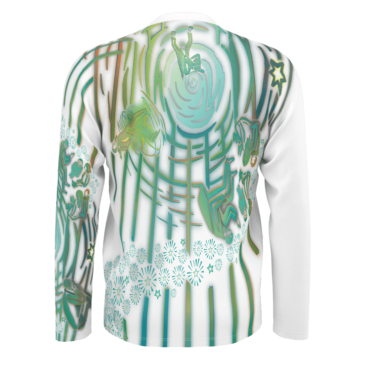street flight all over print long sleeve t-shirt with brilliant things II graphic-rear view