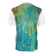 street flight all over print short sleeve t-shirt with brilliant things II graphic-rear view