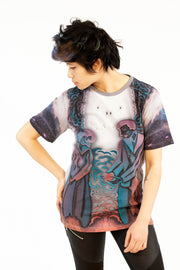 street flight all over print short sleeve t-shirt with brilliant things III graphic-front view