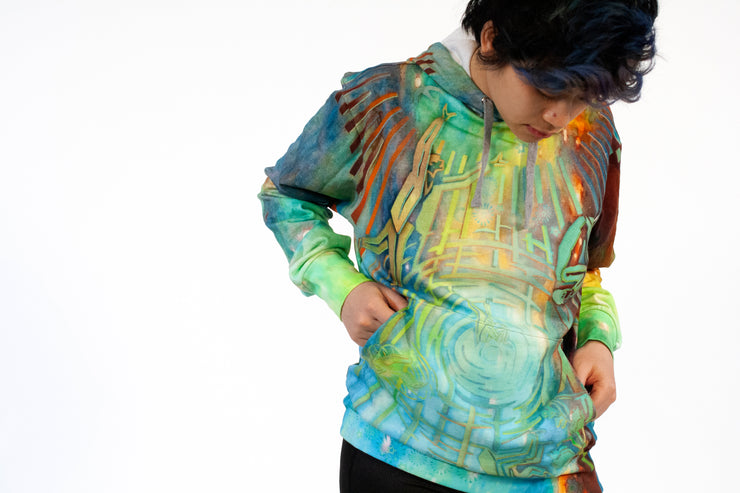 street flight all over print hoodie with brilliant things II graphic-detail