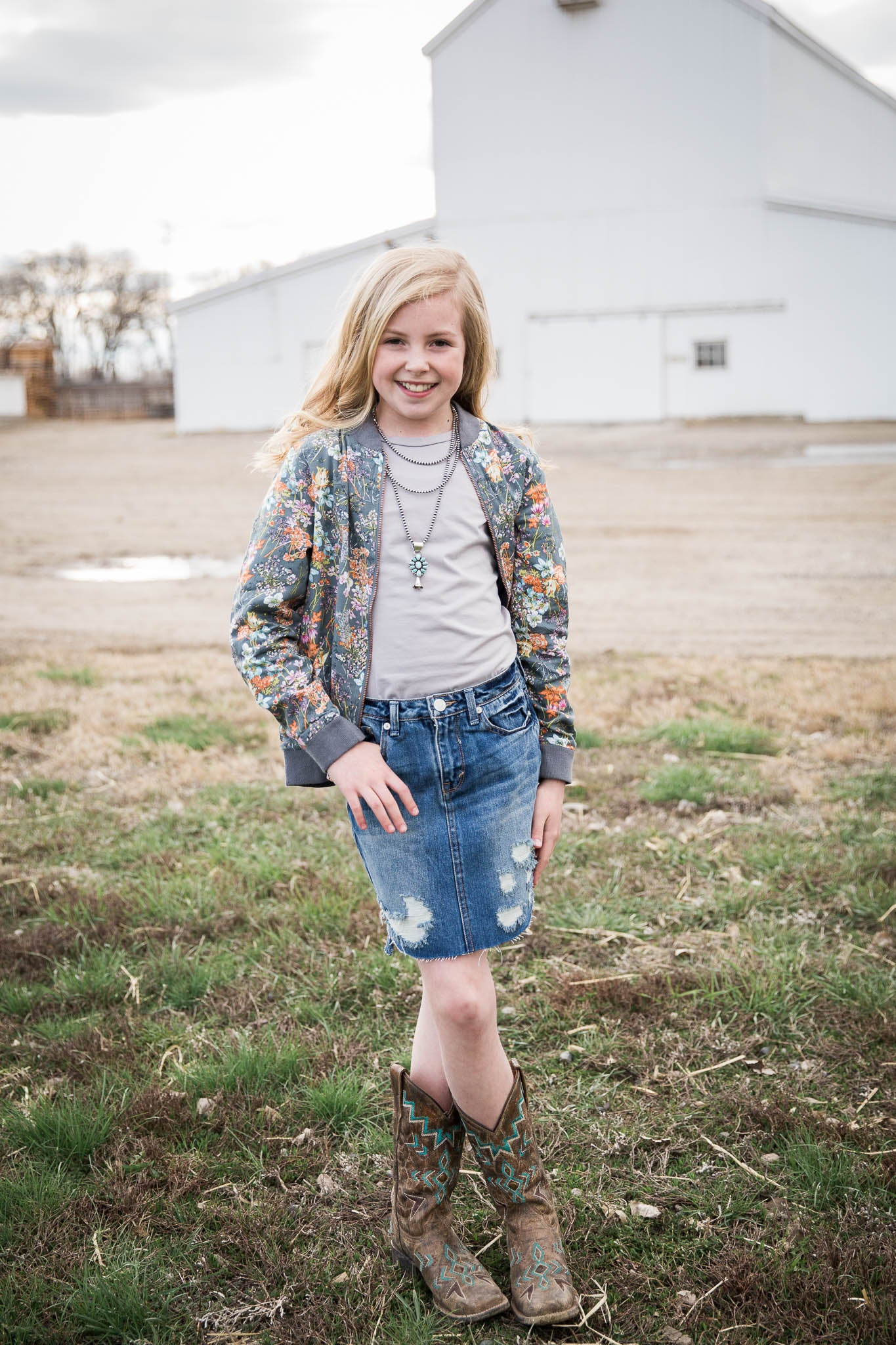 Emery Distressed Denim Skirt - Rural Raised Couture