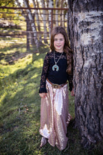 The Calamity Sequin Maxi Skirt-Blush