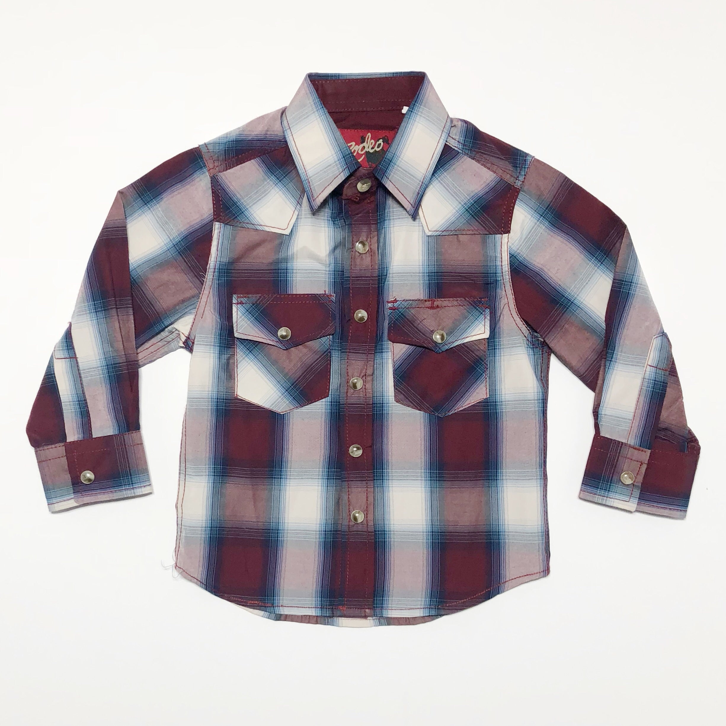 Boys Plaid Pearl Snap-Blue and Burgundy - Rural Raised Couture