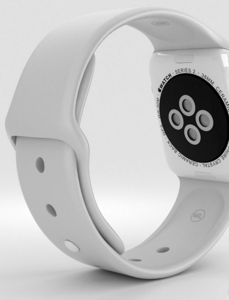 38mm Ceramic Apple Watch with white Sport Band