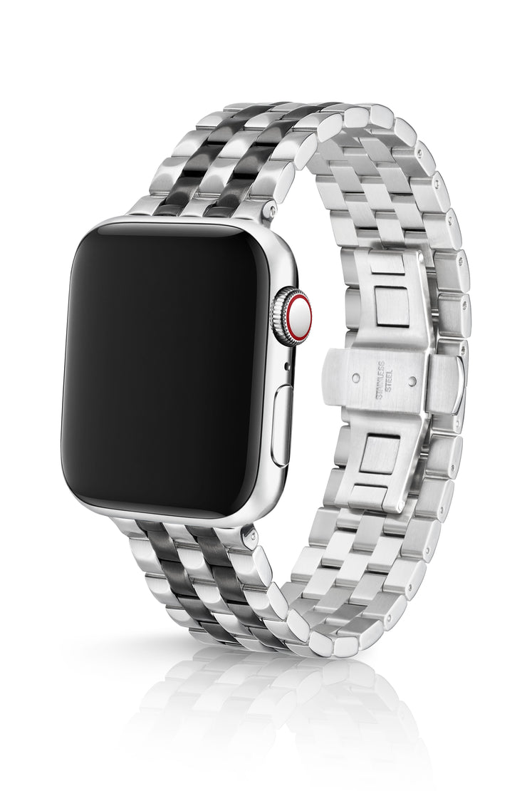 JUUK 44mm Locarno Brushed Two-Tone Black Premium Stainless Steel Apple Watch Band