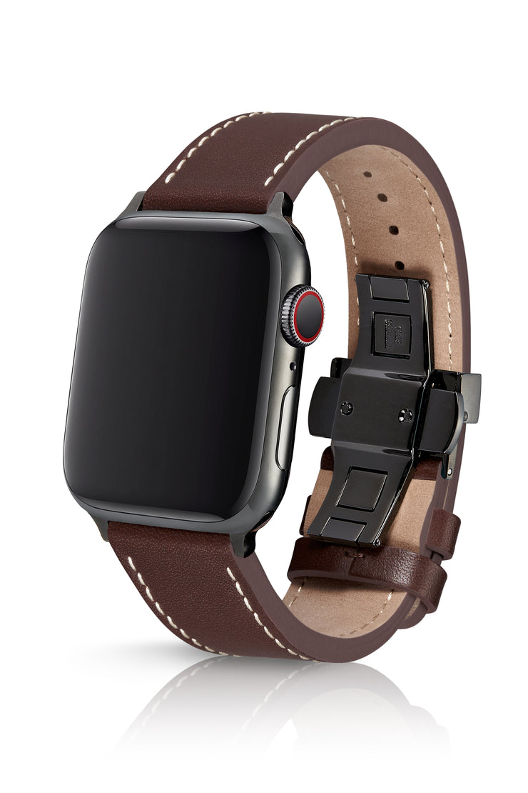 JUUK 44mm Korza Cacao Premium Italian Leather Apple Watch Band