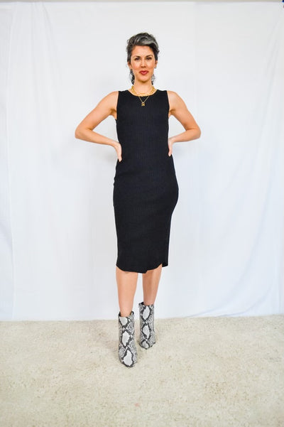 Made For Me Midi Dress-Black