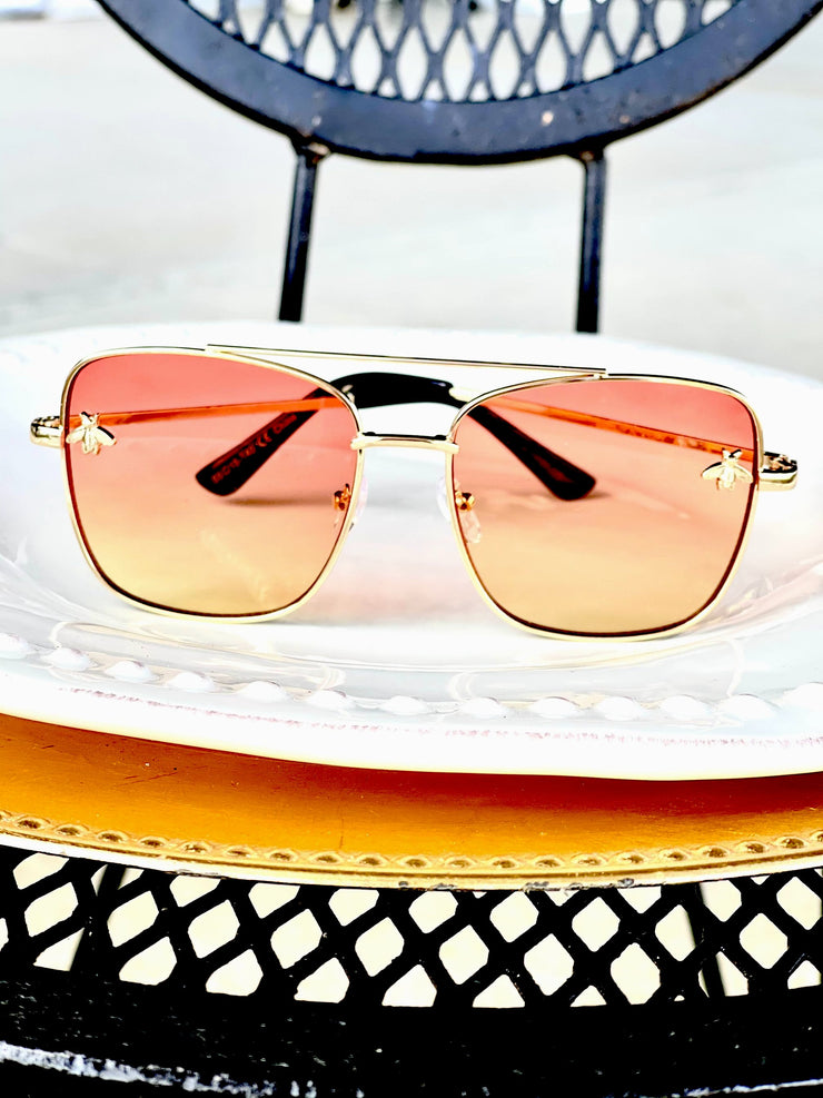High Fashion Bee Aviators- Peach Lemonade