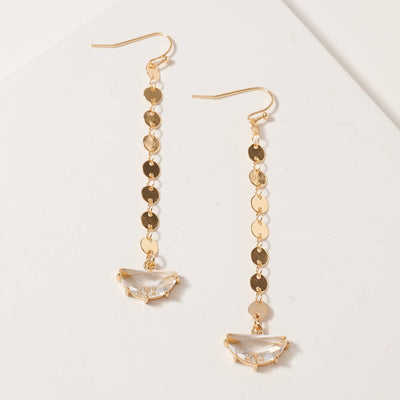 Glass Stone Charm Metal Dangling Earrings