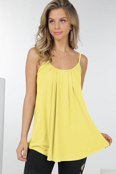 Yes, Pleats spaghetti strap cami - Banana
