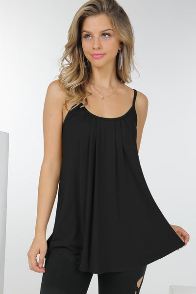 Yes, Pleats spaghetti strap cami - Black