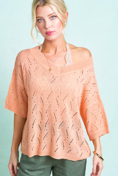 The Eva crochet knit top - coral