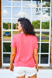 I Won't Be Long raw hem basic tee - coral