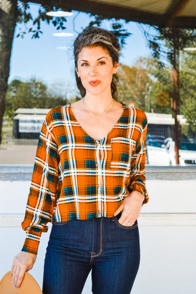 Home for the Holidays plaid blouse