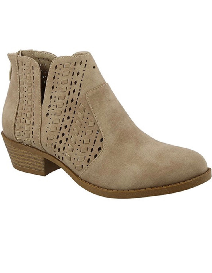 Taupe Woven Detail bootie