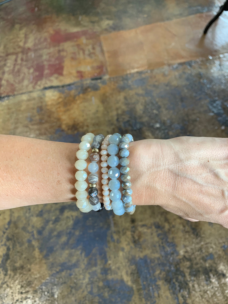 Gray Beaded Bracelet Set
