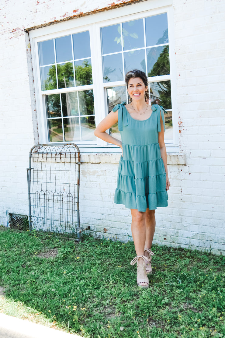 Top Tier tiered dress - Sage