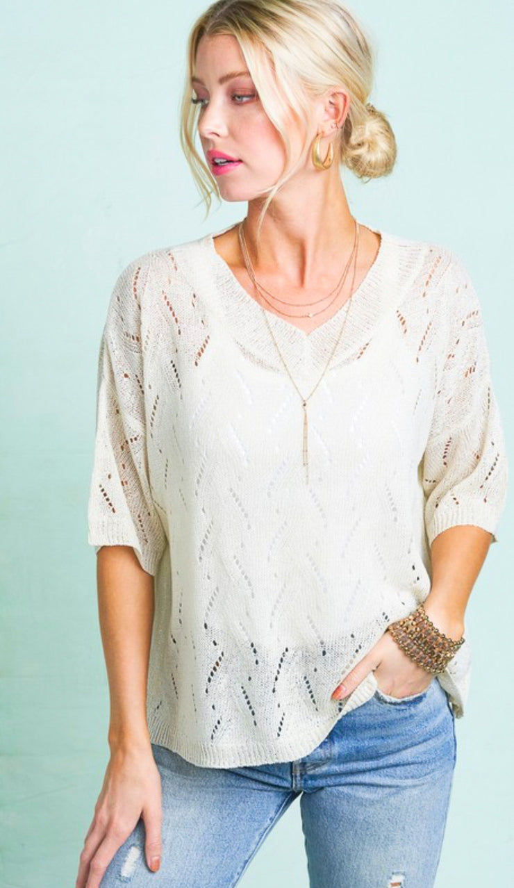 The Eva crochet knit top - cream