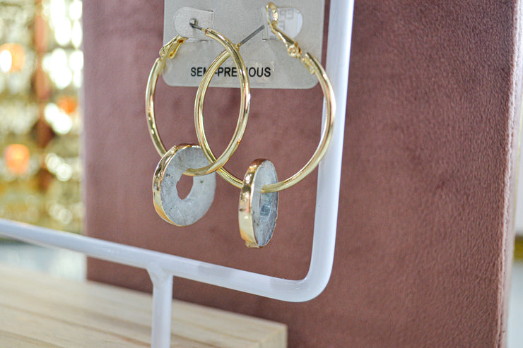 Gold Hoops with Gem Stones
