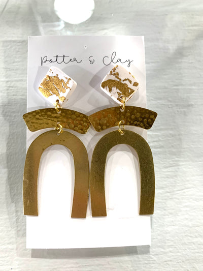 The Emilie clay and brass earring