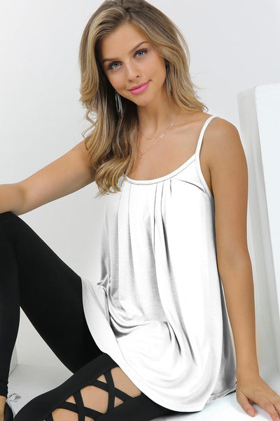 Yes, Pleats spaghetti strap cami - Off White