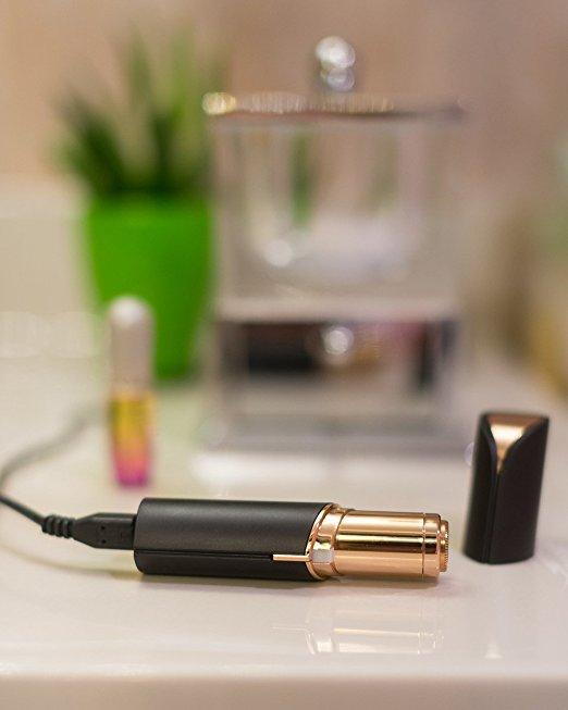 Finishing Touch Flawless Women's Painless Hair Remover with Rechargeable Battery, Black/Gold