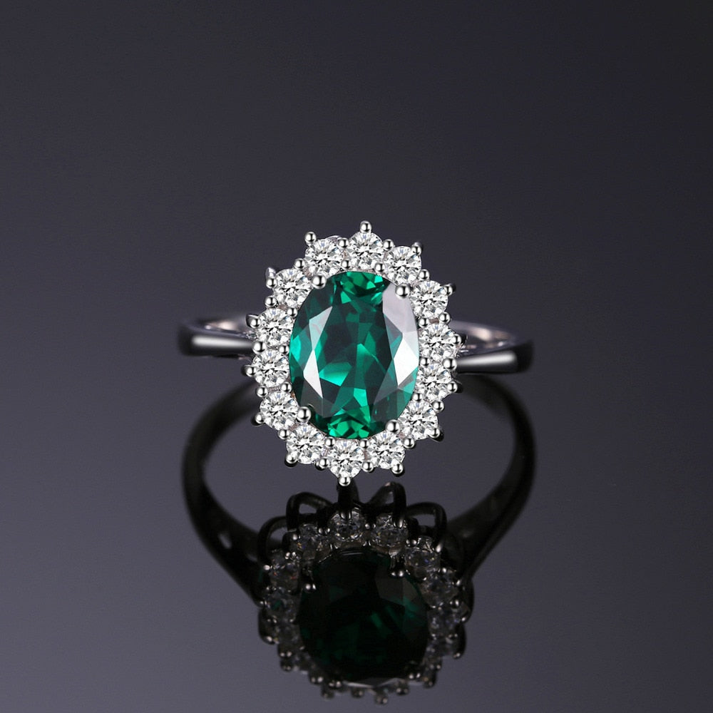 Middleton's 2.5ct Created Emerald Ring Solid 925 Sterling Silver Ring