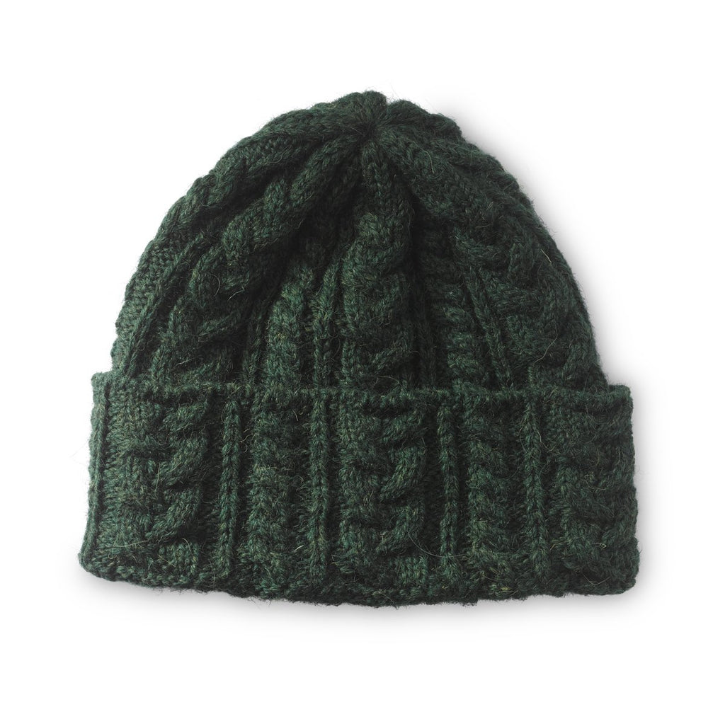Traditional Green Aran Beanie