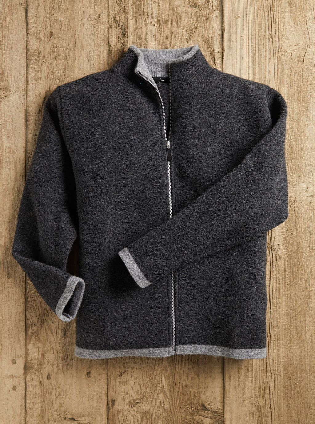 Charcoal Felted Wool Zip Cardigan