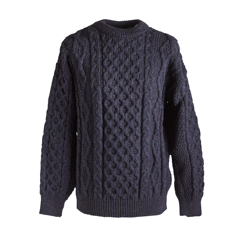 Wool Aran sweater - Denim