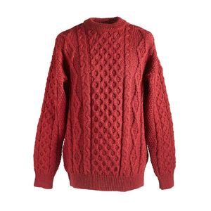 Wool Aran sweater - Red