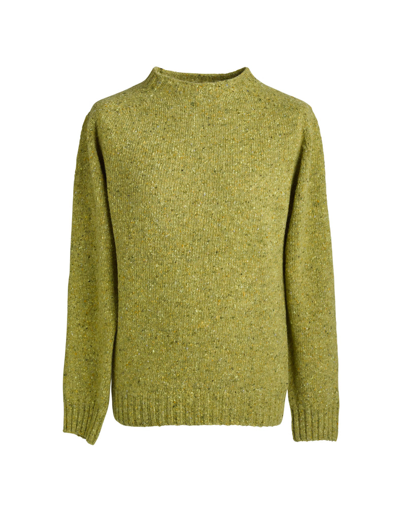 Donegal yarn crewneck sweater Moss