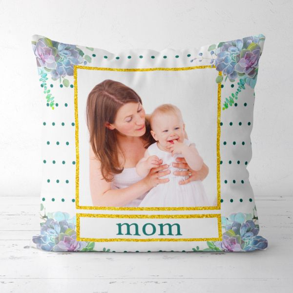 Custom Picture and Name Dot pillow for Mother's Day