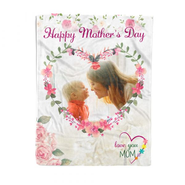 Custom Photo in Heart Shape Fleece Blanket for Mother's Day