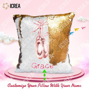 Personalized Ballet Shoes Sequin Pillows With Inner