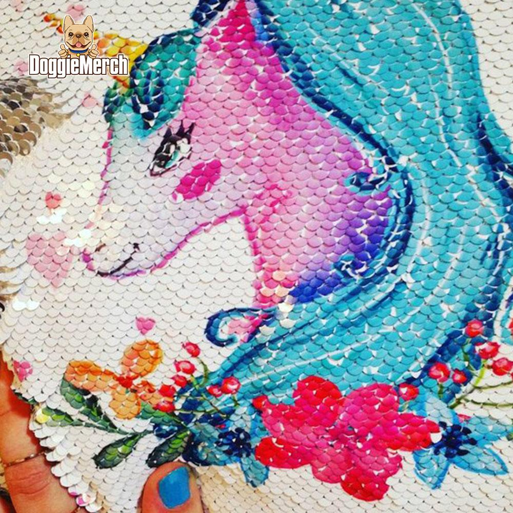 Custom Unicorn Sequins Pillow with Inner