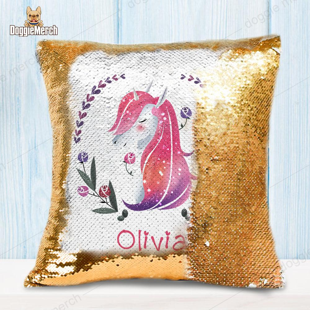 Personalized Unicorn Wreath Sequin Pillow With Inner