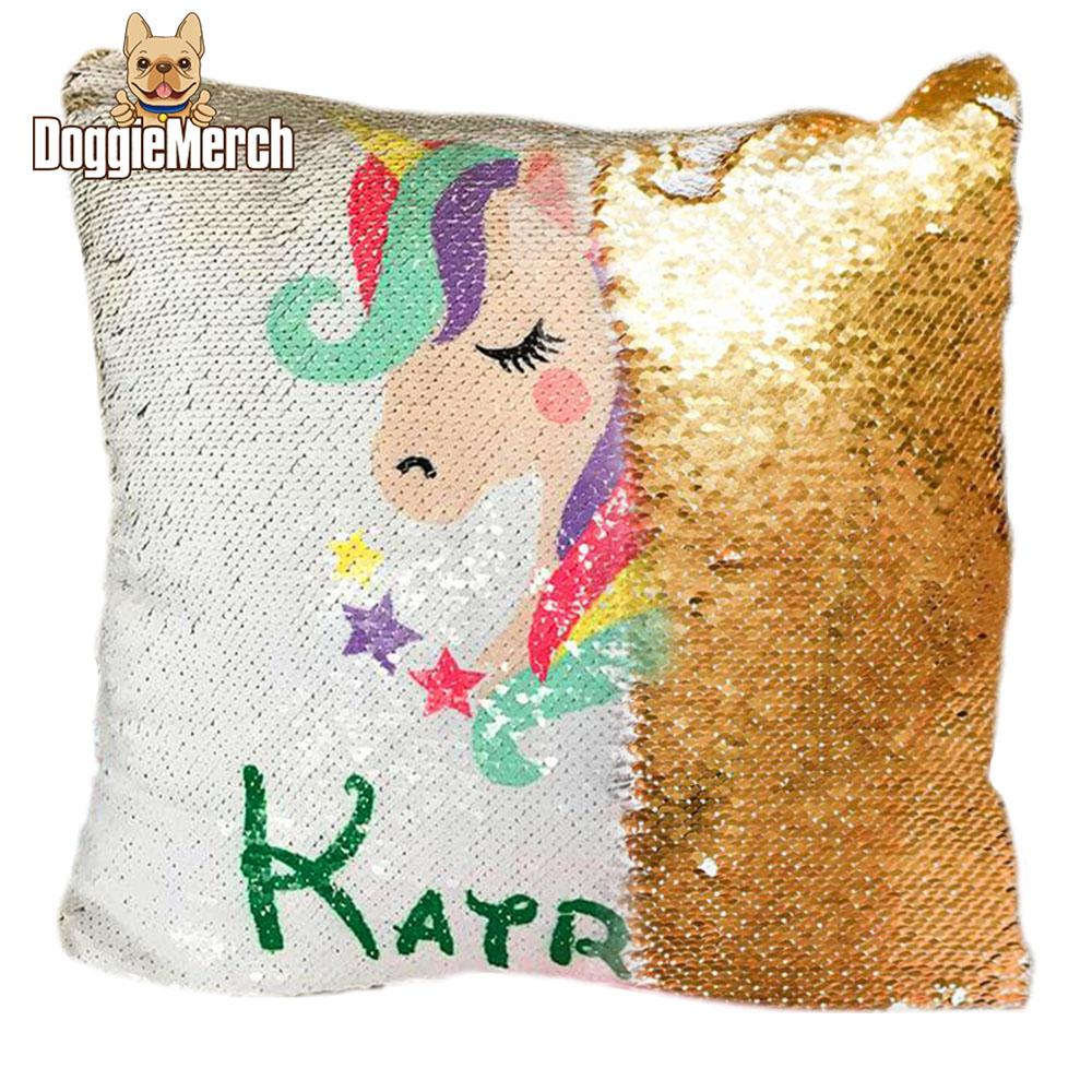 Personalized Unicorn Sequin Pillow with Inner