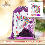 Custom Unicorn Drawstring Sequin Backpack