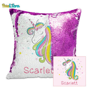 Custom Unicorn Sequin Pillow With Colorful Stars