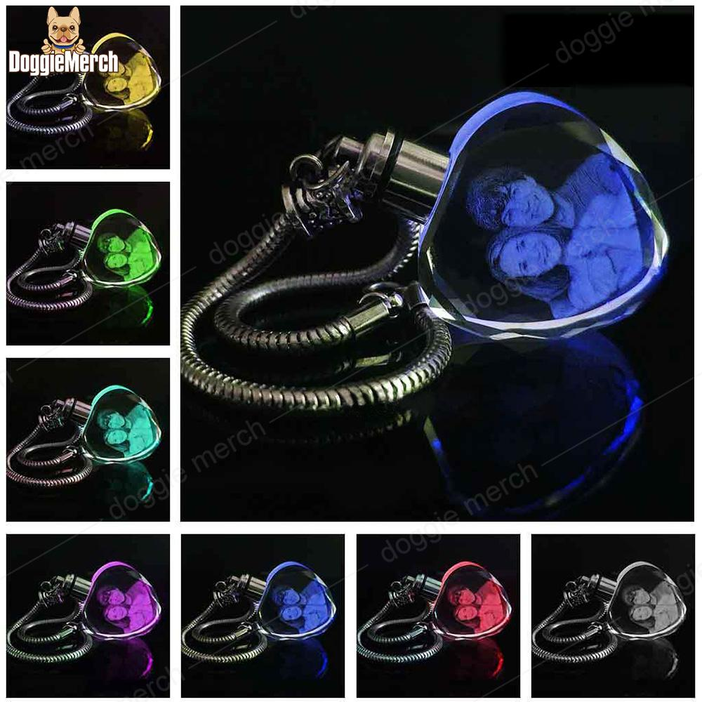 Custom Pet Crystal Keychain with 7-Color Changing Led Lights