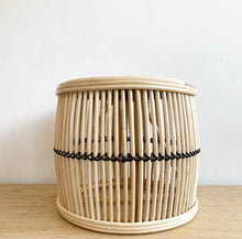 Load image into Gallery viewer, Table - Rattan Drum + Black detail