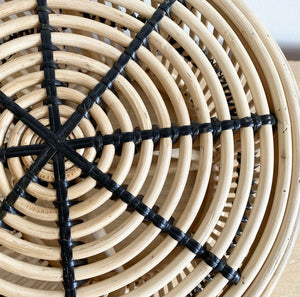 Table - Rattan Drum + Black detail