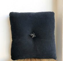 Load image into Gallery viewer, Cushion - Black linen with centre tassel
