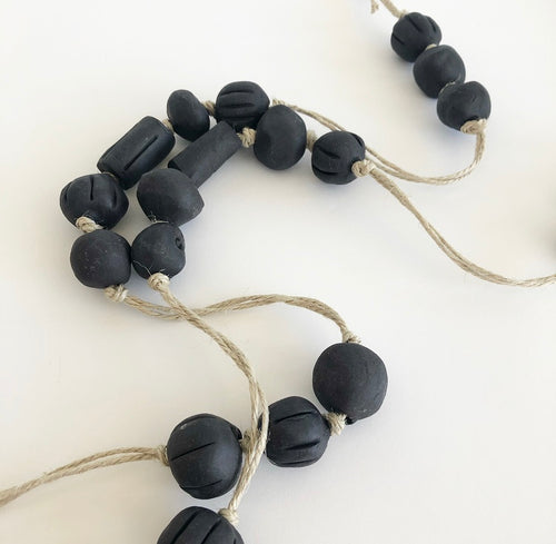 Beaded garland - Handmade Ceramic  Black