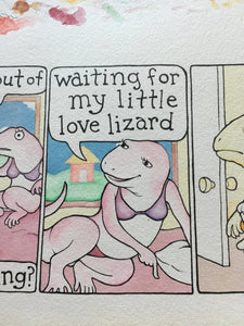"""Love Lizard"" original art"