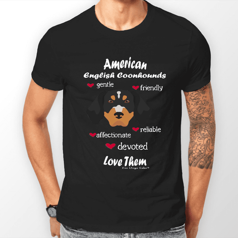 For Dogs Sake! S Men's Black 'Love Them' American English Coonhound  T-Shirt by For Dogs Sake!®